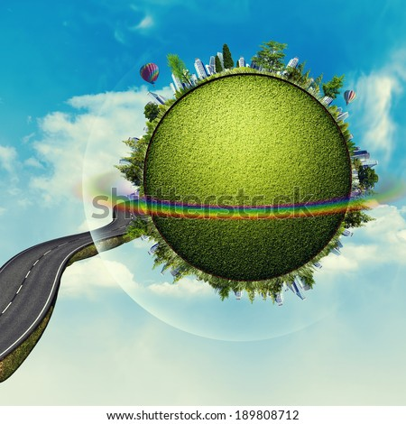 Green Planet, abstract vacation and travel backgrounds - stock photo
