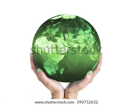Green Planet Earth being supported by female hands. Some elements of this image taken from NASA archive