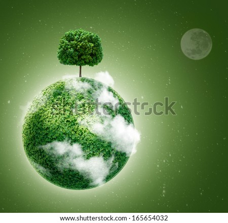 Green planet. Ecology concept. Green planet earth with a tree on  background of space . Go green.  - stock photo