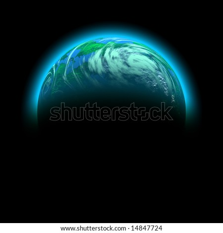 green planet illustration isolated on black - stock photo