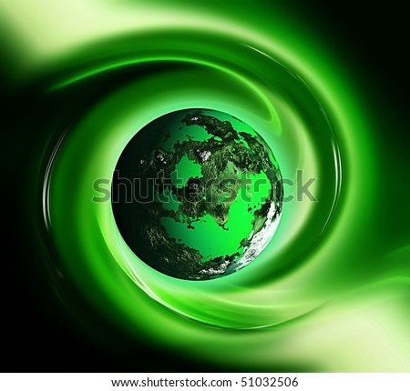 green planet in a wave - stock photo