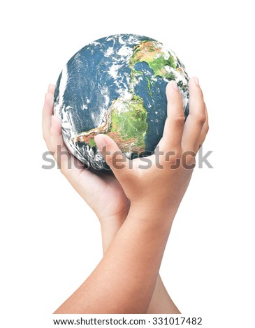 Green planet in two children hands isolated on white background. Investment, Ecology, World Environment Day, Corporate Social Responsibility (CSR) concept. Elements of this image furnished by NASA. - stock photo