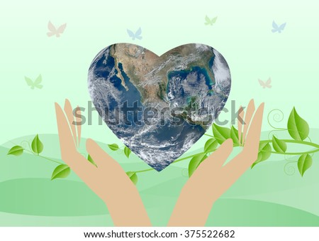 Green planet in your hands/ World environment day concept/Save the world: Elements of this image furnished by NASA  - stock photo