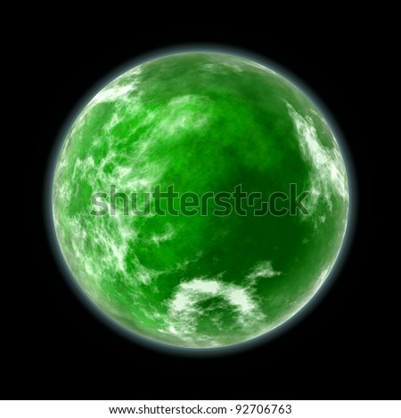 green planet isolated on black - stock photo