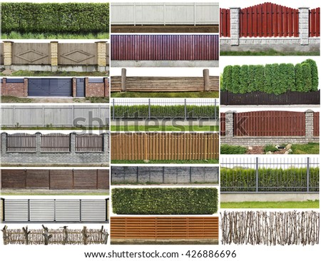 Green plants hedge and wooden rural fence  isolated on top fragments big set. All images you can find in my portfolio - stock photo