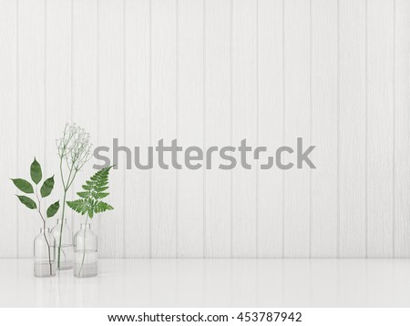 Green plants in the bottles on wooden white wall background. 3D