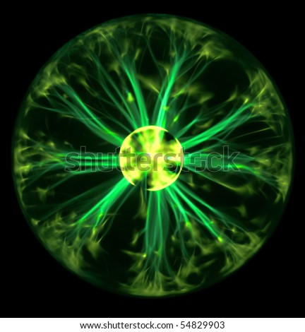 Green plasma ball - stock photo