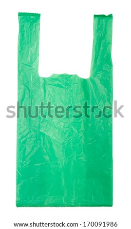 green Plastic bag isolated on white background - stock photo
