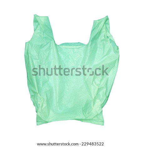 Green plastic bag isolated on white background with clipping path - stock photo