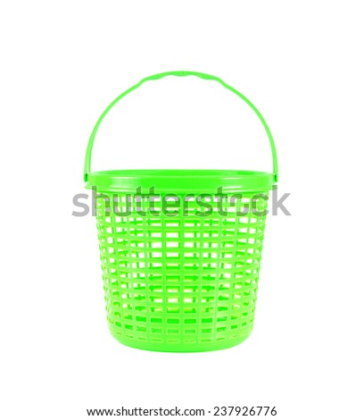 Green plastic basket isolated on white background - stock photo