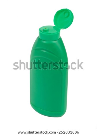 Green plastic bottle for ketchup, mayonnaise, mustard or other sauces isolated on white background - stock photo