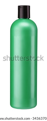 Green Plastic bottle of body care, conditioner, hair rinse, gel, mouthwash / studio photography of plastic bottle for shampoo - isolated on white background - stock photo