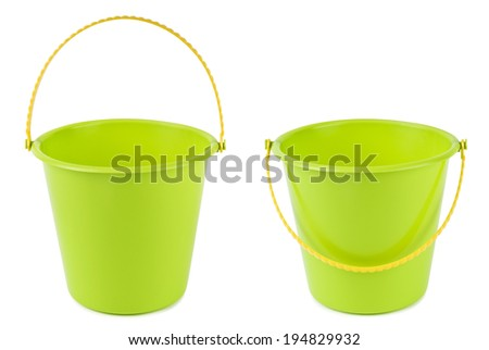 Green plastic bucket with handle up and down, isolated on white. Clipping paths included.