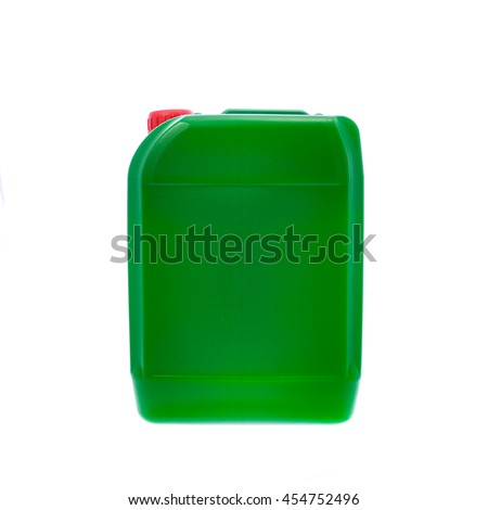 Green plastic canister, container; isolated on white background