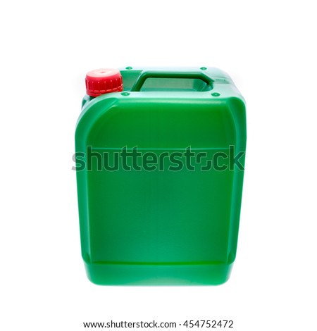 Green plastic canister, container; isolated on white background. Angle from up  - stock photo