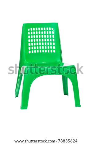 Green plastic chair isolated on white background - stock photo