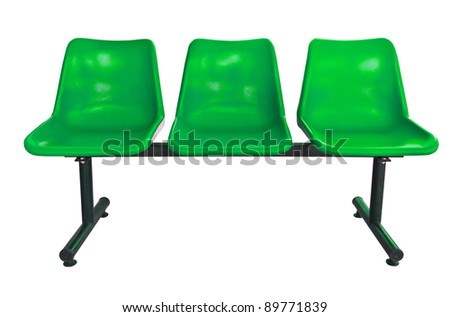 green plastic chairs at the bus stop isolated on white - stock photo