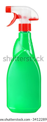 Green plastic dispenser with cleaning liquid / studio photography of spray multipurpose cleaner - isolated on white background - stock photo
