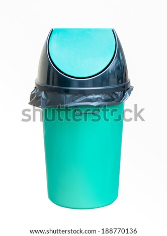 Green plastic dust bin isolated over white background. - stock photo