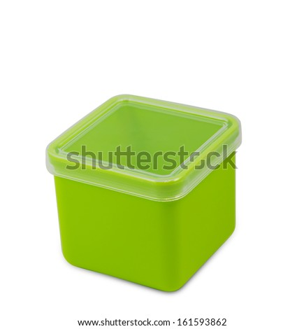 Green plastic empty box in white background with clipping path