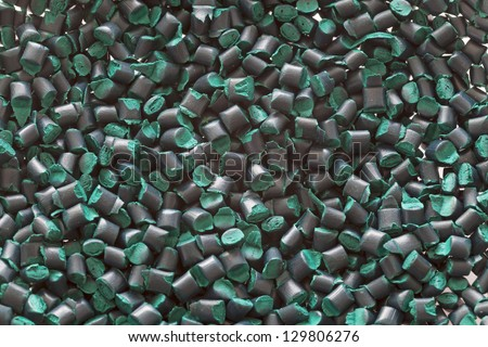 Green plastic granules - stock photo