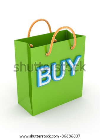 Green plastic package with a big word BUY.Isolated on white background.3d rendered. - stock photo