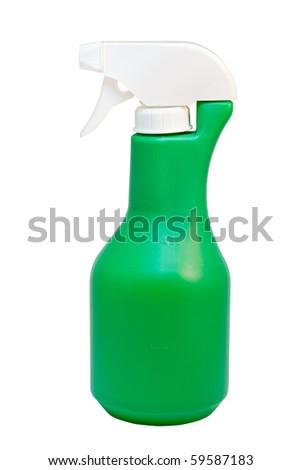 green plastic sprayer isolated on white background - stock photo