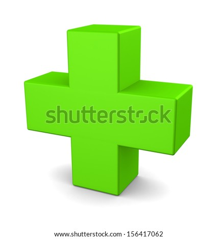 Green plus sign isolated on white background - stock photo