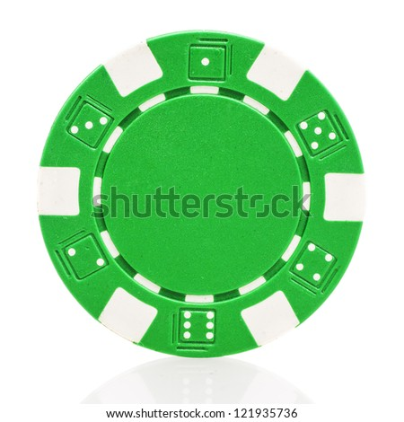 Green poker chip isolated on white background - stock photo