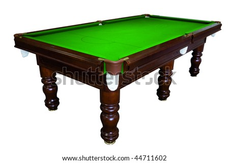 Green pool table isolated - stock photo