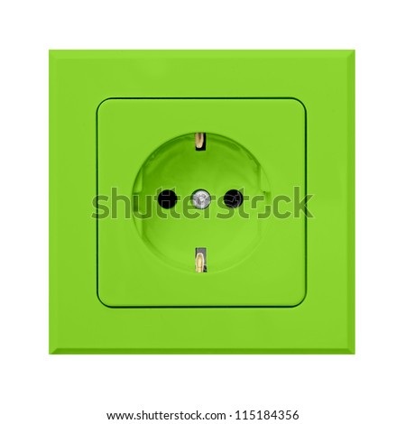 green power outlet isolated on white background - stock photo