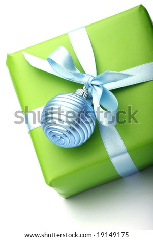 green present box with blue ribbon isolated on white background
