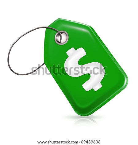 Green price tag, Bitmap copy - stock photo