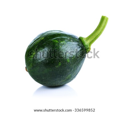 green pumpkin isolated on white.