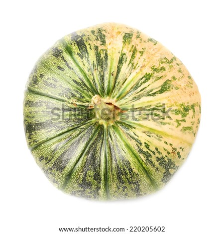Green pumpkin isolated over the white background, top view above - stock photo