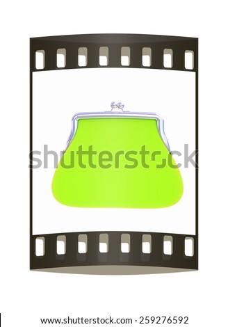 green purse on a white. The film strip - stock photo