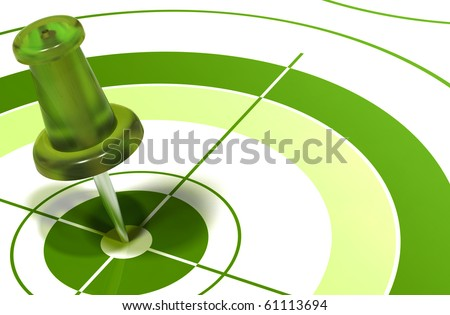green pushpin on center of a target symbol of reaching objectives - stock photo