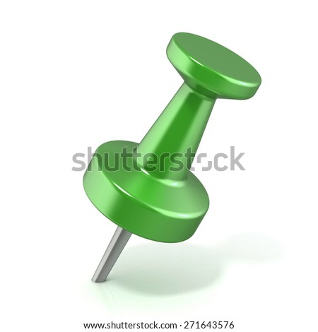 Green pushpin, stabbed.3D render illustration isolated on white background. - stock photo