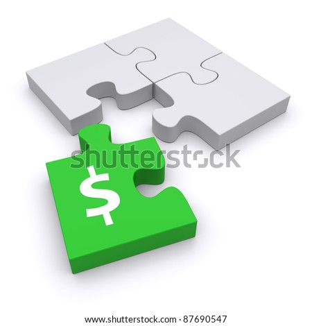 Green puzzle, like a missing piece. Conceptual 3D illustration - stock photo