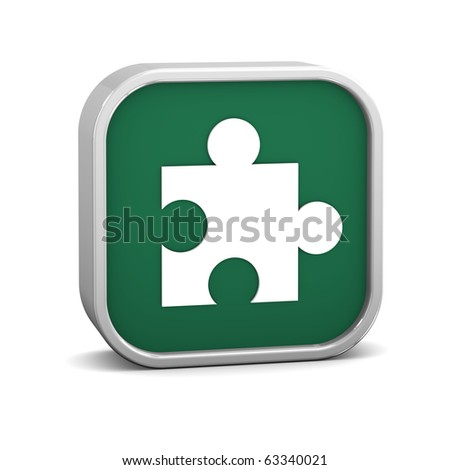 Green puzzle sign on a white background. Part of a series. - stock photo