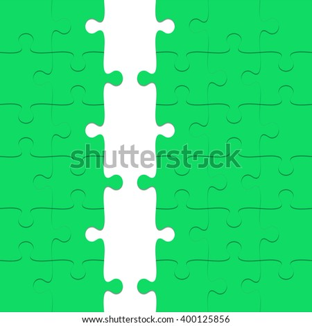 Green Puzzle with missing pieces - stock photo