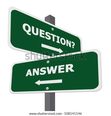 Green Question and Answer Street Sign Isolate on White Background - stock photo