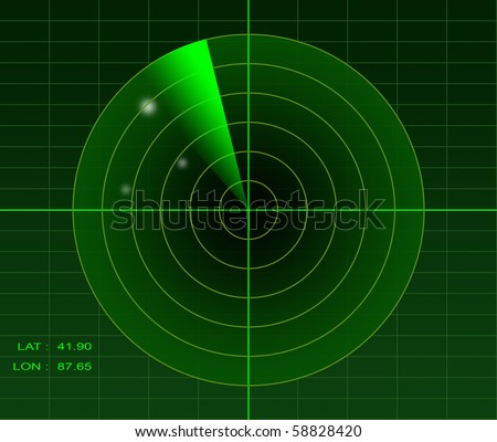 Green radar image spotting 3 unidentified objects - stock photo