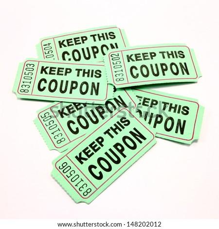 Green raffle tickets - stock photo