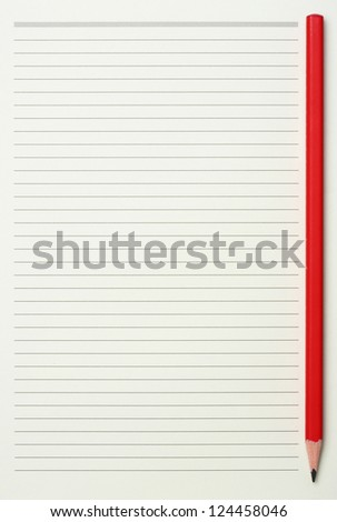 Green read note paper with thin line and red pencil - stock photo