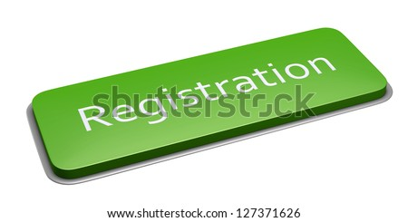 Green rectangle registration button isolated on white. 3d illustration.