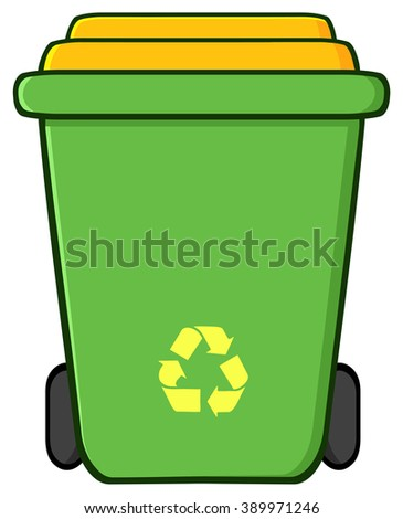 Green Recycle Bin Cartoon. Raster Illustration Isolated On White Background - stock photo