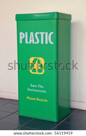 Green Recycle Bin For Plastic Materials