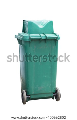 Green Recycle Bin for Trash and Garbage Isolated white background with clipping path