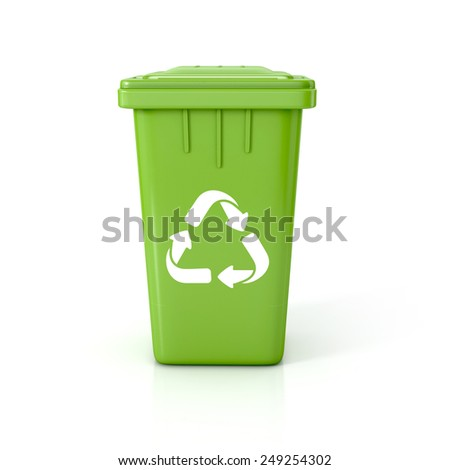 Green Recycle bin with recycle sign. 3d illustration isolated on white.